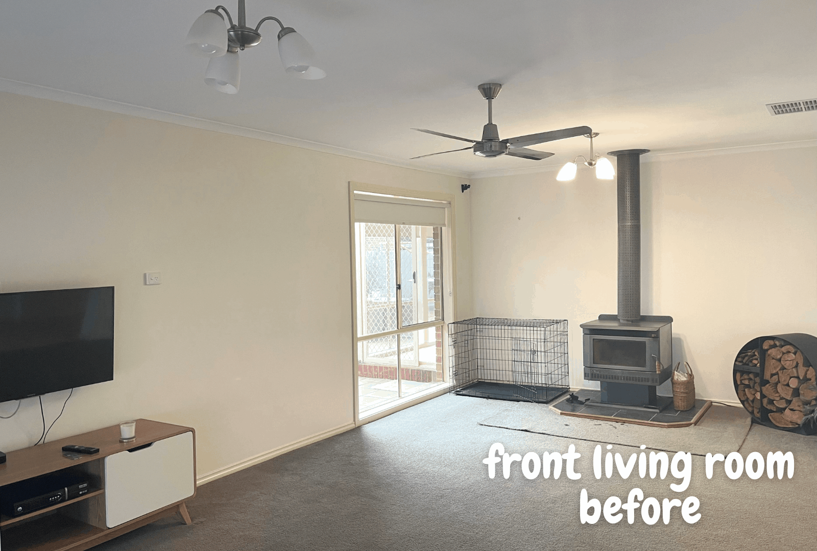 Empty front living room before staging