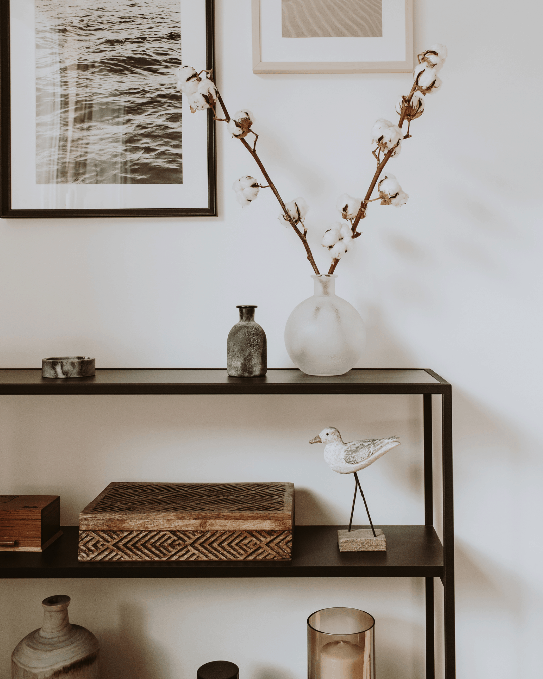 spring decor on side table